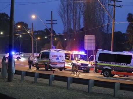 The white ute is understood to have lost a side mirror in the collision. Picture: Steve Tyson