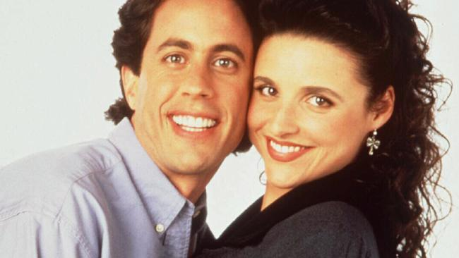 Jerry Seinfeld with Julia Louis-Dreyfus in Seinfeld.