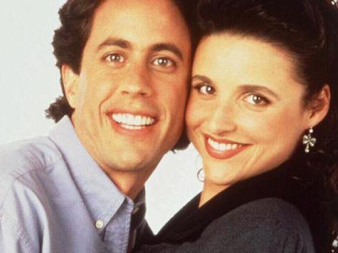 Jerry Seinfeld with Julia Louis-Dreyfus in Seinfeld.