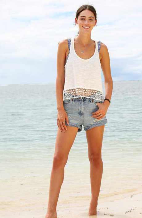 Sarah Tilleke on the beach in Samoa.