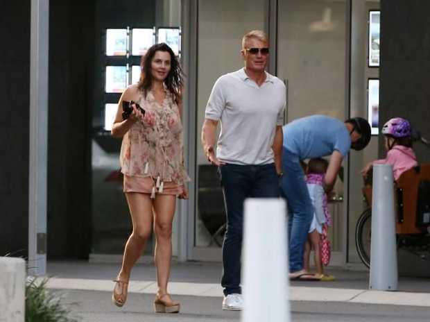 Dolph Lundgren and his girlfriend Jenny Sandersson spotted out and about on the Gold Coast.