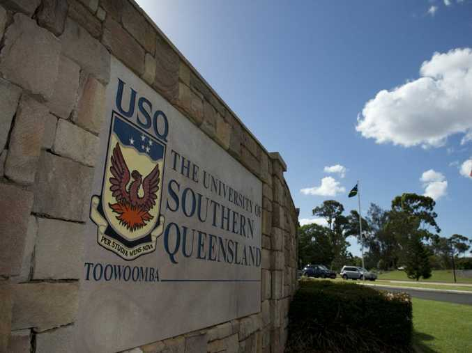 A sign at the entrance of the University of Southern Queensland, West St, Toowoomba, USQ, Friday, February 6, 2015. Photo Kevin Farmer / The Chronicle