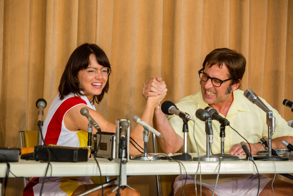 Emma Stone and Steve Carell in a scene from Battle of the Sexes.
