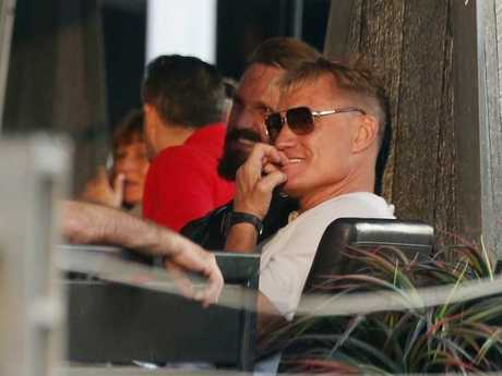 Dolph Lundgren enjoying a meal at Koi Dining and Lounge Bar in Broadbeach.