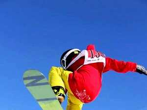 Burringbar teen Sunny Steele, 13, pulls a method grab on the slopes at Perisher.