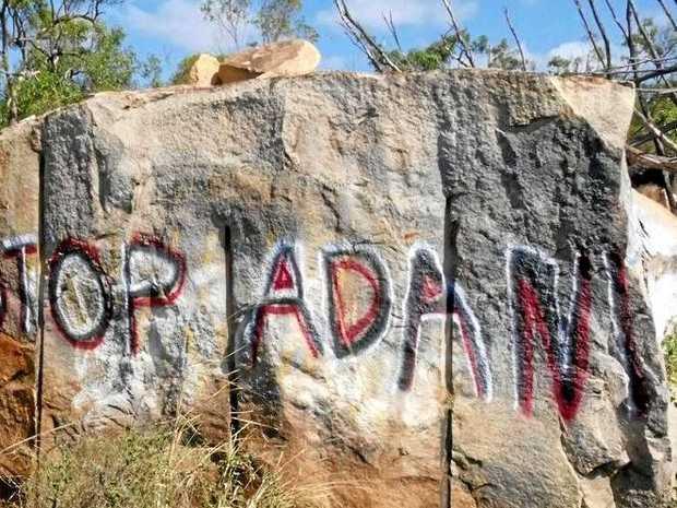 Graffiti left by anti-Adani protesters in Bowen.