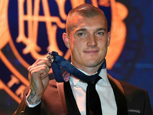 Dustin Martin of the Richmond Tigers reacts after winning the 2017 Brownlow Medal.