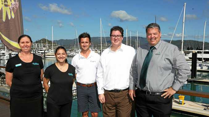 Tourism Whitsundays' Kylie Rogerson and Natasha Wheeler with Luke McCaul form Abell Point Marina, member for Dawson George Christensen and mayor Andrew Willcox at the Federal Government's Clipper funding announcement.