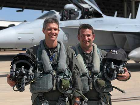 AIR SHOW: Squadron Leader Daniel Wilson (left) and Flight Lieutenant Mark Elsey will be flying the Air Force's newest aircraft, the EA-18G Growler, at this year's Riverfire.