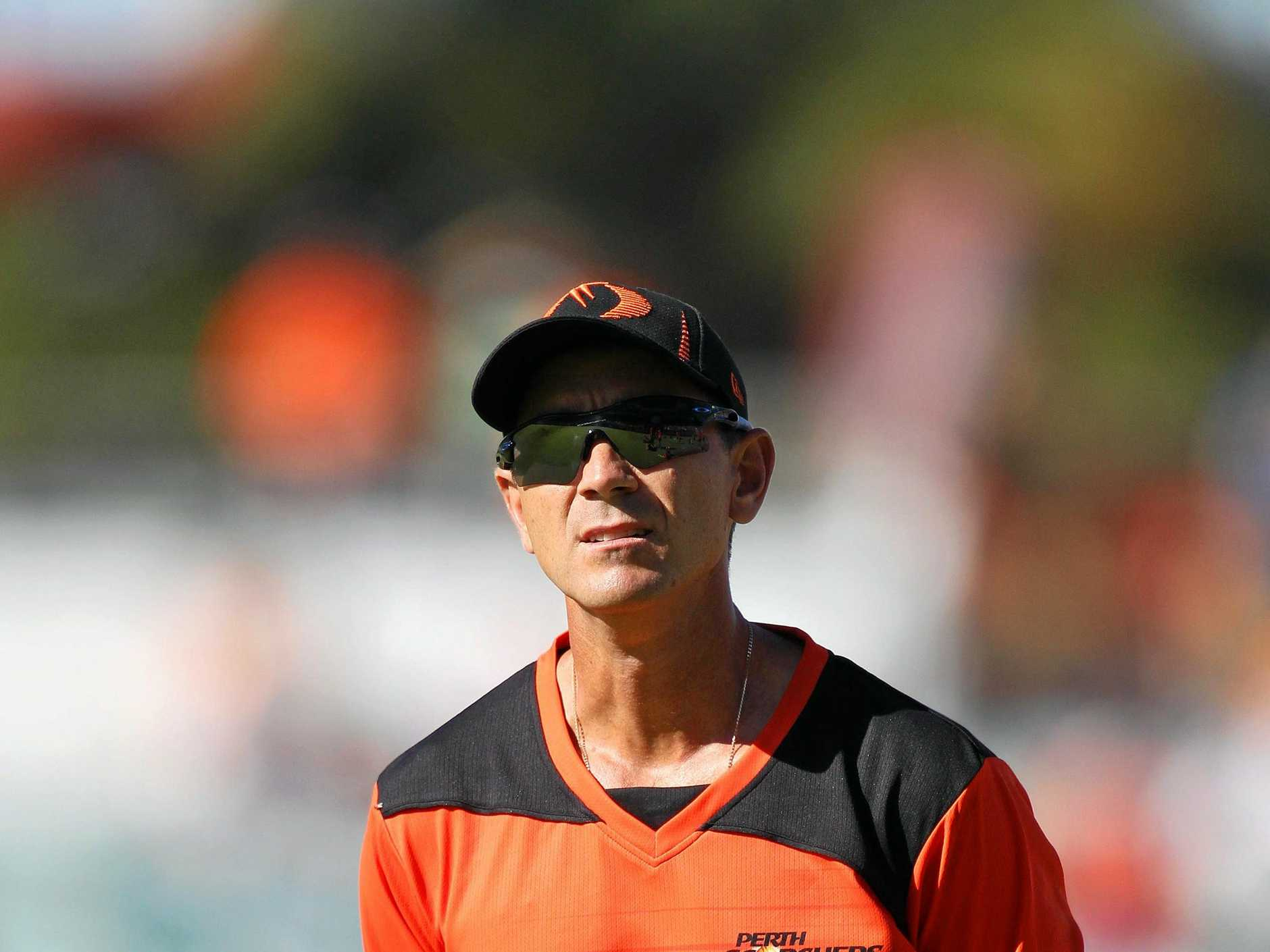 Scorchers Coach Justin Langer pre-match. Big Bash League T-20 final between the Perth Scorchers and Brisbane Heat at the WACA in Perth. Saturday, Jan. 19, 2013. (AAP Image/Lincoln Baker). NO ARCHIVING, IMAGES TO BE USED FOR NEWS REPORTING ONLY, NO COMMERCIAL USE WHATSOEVER NO USE IN BOOKS WITHOUT PRIOR WRITTEN CONSENT FROM AAP.