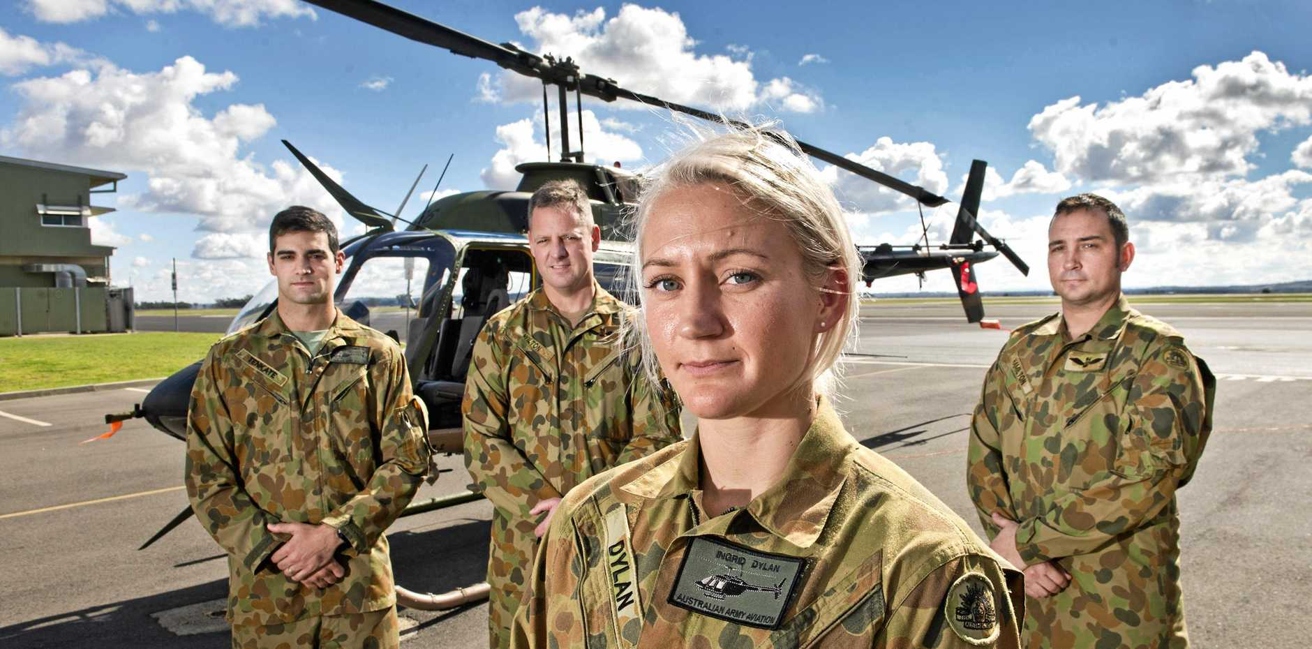 RECOGNISED: The four Australian Defence Force members (from left) Lt Michael Tenkate, Capt Warren Wilton, Second Lieutenant Ingrid Dylan and Capt Gary Hamilton, pictured here in 2016, were recognised for their role at the scene at of a fatal traffic crash last year.