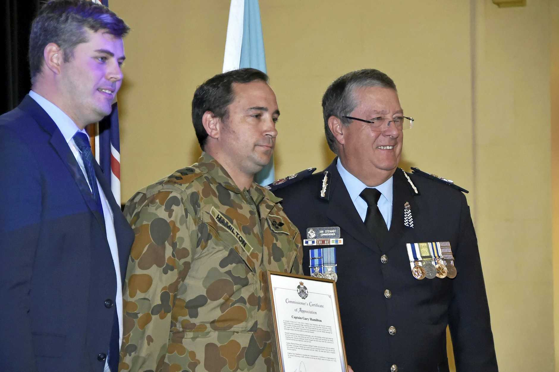 Mark Ryan MP (left), Capt Gary Hamilton, Queensland Police commissioner Ian Stewart. Queensland Police commissioner Ian Stewart. Combined QFES and QPS Medal and Awards Ceremony. Empire Church Theatre. September 2017