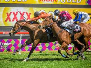 POWERING HOME: Taiko Boom sticks its head in front of Motivate and Go the Gantry to win the Yoohoo McPhee Class 2 Handicap at Clarence River Jockey Club.