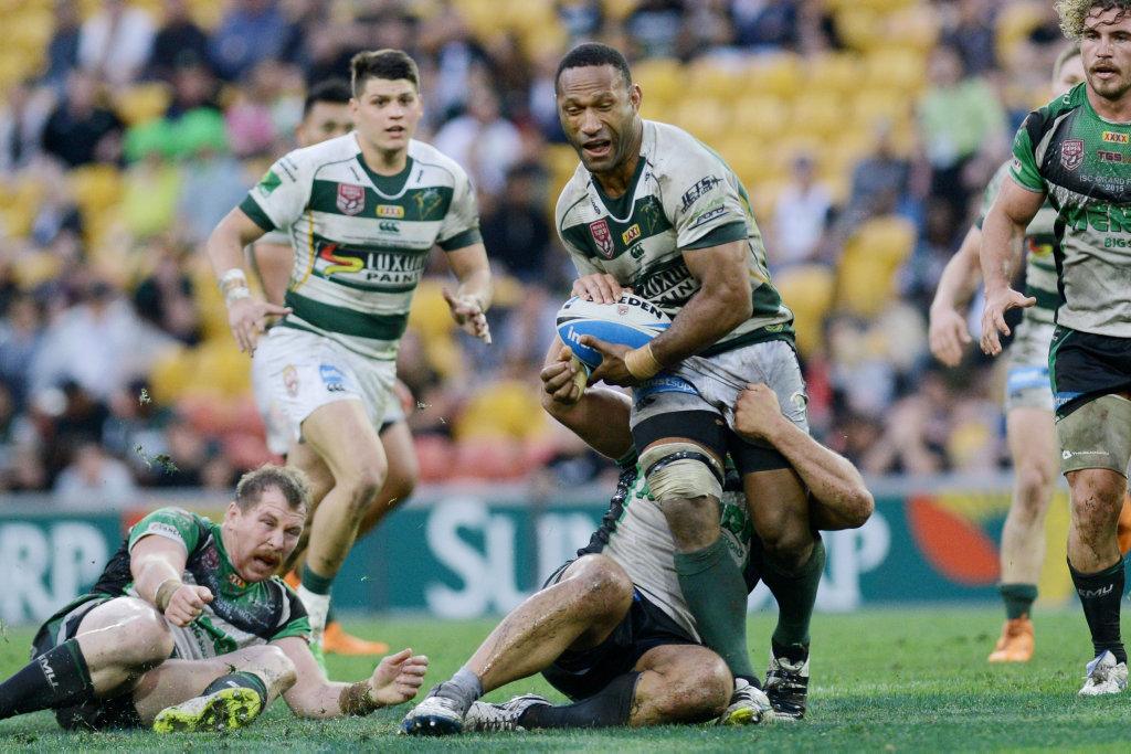 Ipswich Jets props Rod Griffin (with ball) and Billy McConnachie have signed NRL contracts with the Wests Tigers for the 2016 season.