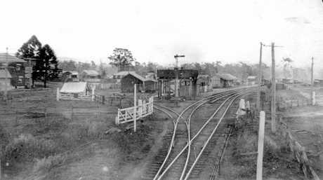 Yandina Railway Station, ca 1927.  The railway line from Landsborough to Yandina was declared open on January 1, 1891.