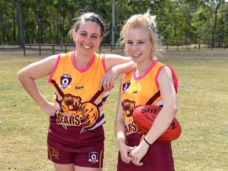 Maryborough Bears AFL - girls team players (L) Annika Brown and Montanna Bidois.