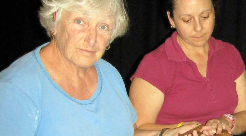 ONE DOLLAR OR TWO?: Lulu (Di Meyers, left) and Betsy (Dunia Tarrant) assess their donations.