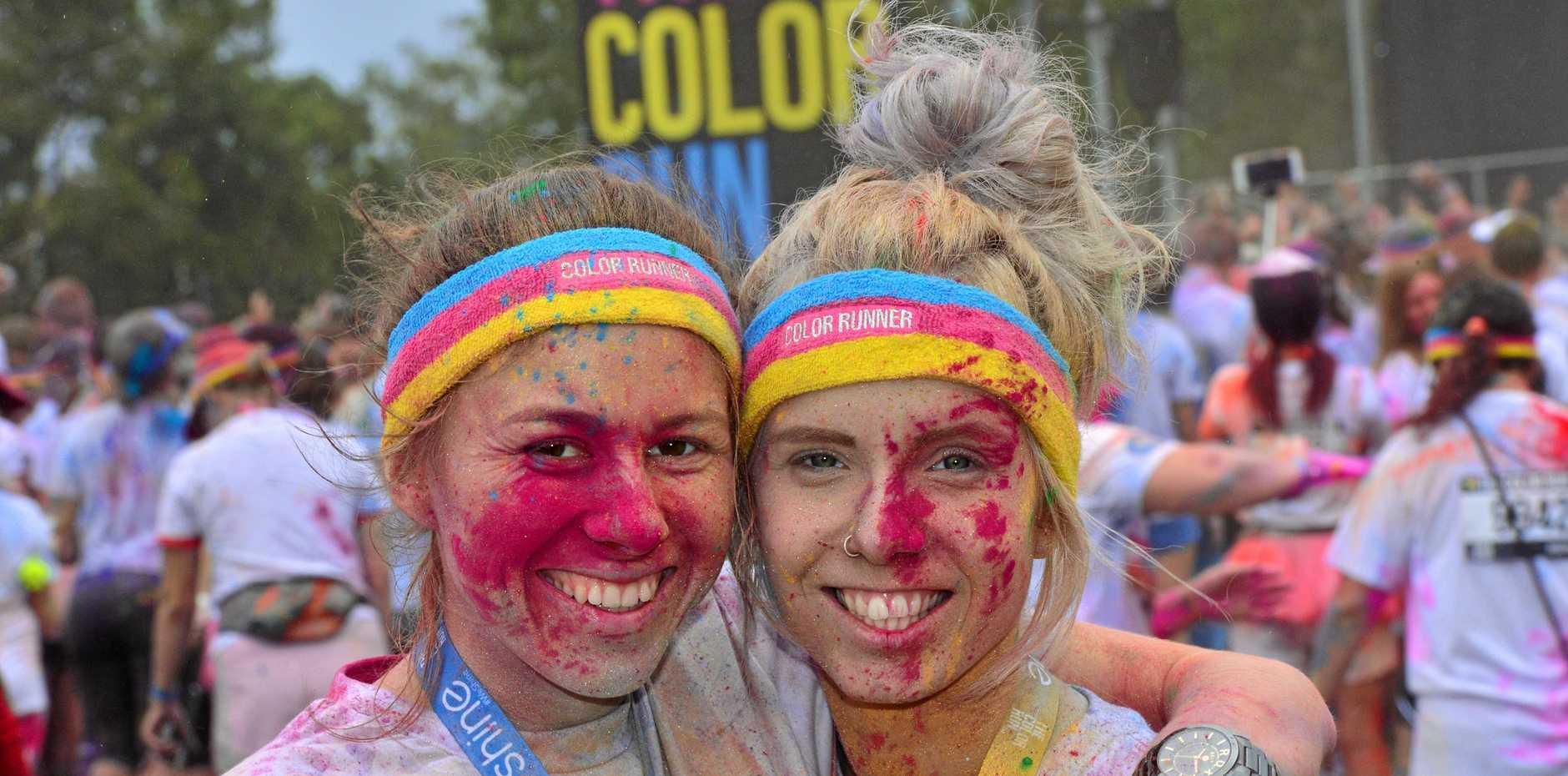 Shannon Landsberg and Emma Orme  at the 2016 Colour Run at Stockland Stadium.  Photo: John McCutcheon / Sunshine Coast Daily