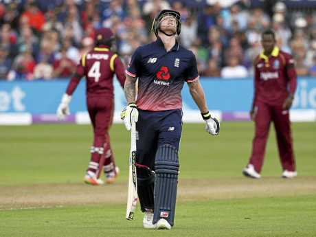 Ben Stokes makes his way off after being dismissed during the third One Day International against West Indies at Bristol