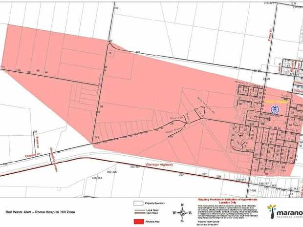 The Maranoa Regional Council have provided a map off the area that is affected by the boil water alert.