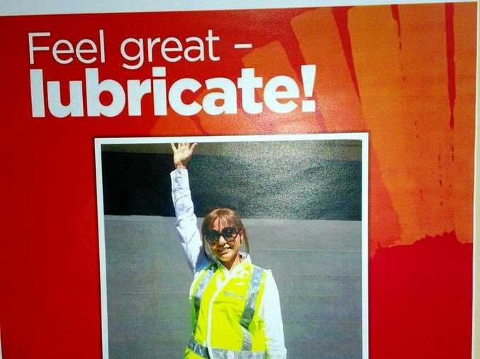 A sexual discrimination claim has been filed against Sydney water over this poster featuring a long-term female employee.