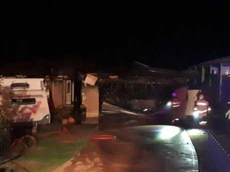 A home was badly damaged at Haliday Bay overnight.