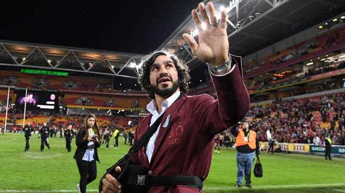 Johnathan Thurston reacts with the crowd following State of Origin Game 3 between the Queensland Maroons and NSW Blues, at Suncorp Stadium in Brisbane in July this year.