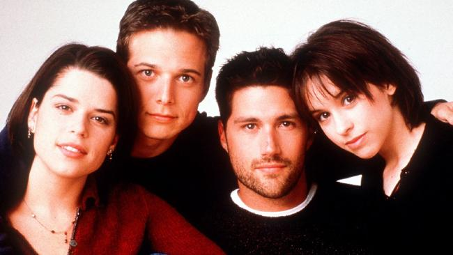Neve Campbell, Scott Wolf, Matthew Fox and Lacey Chabert from party of Five.