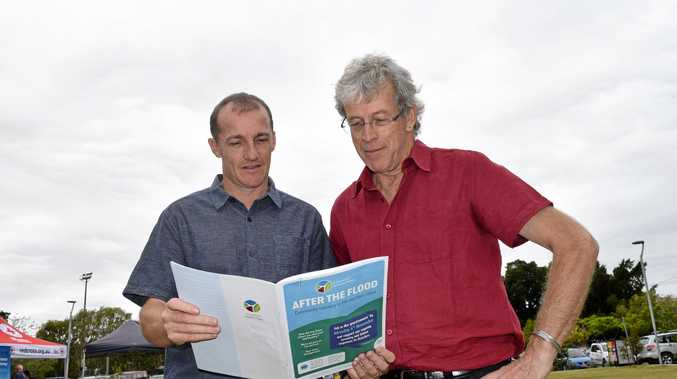 Isaac Smith and James Bennett-Levy at the launch of the 'After the Flood' survey at Lismore Quadrangle on Wednesday September 27.