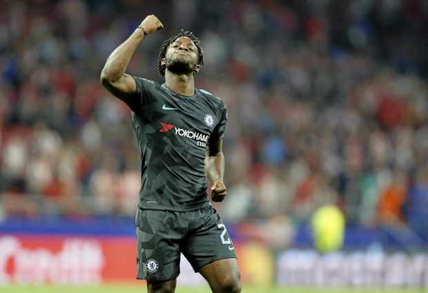 Chelsea's Michy Batshuayi celebrates after scoring his side's winner against Atletico Madrid.