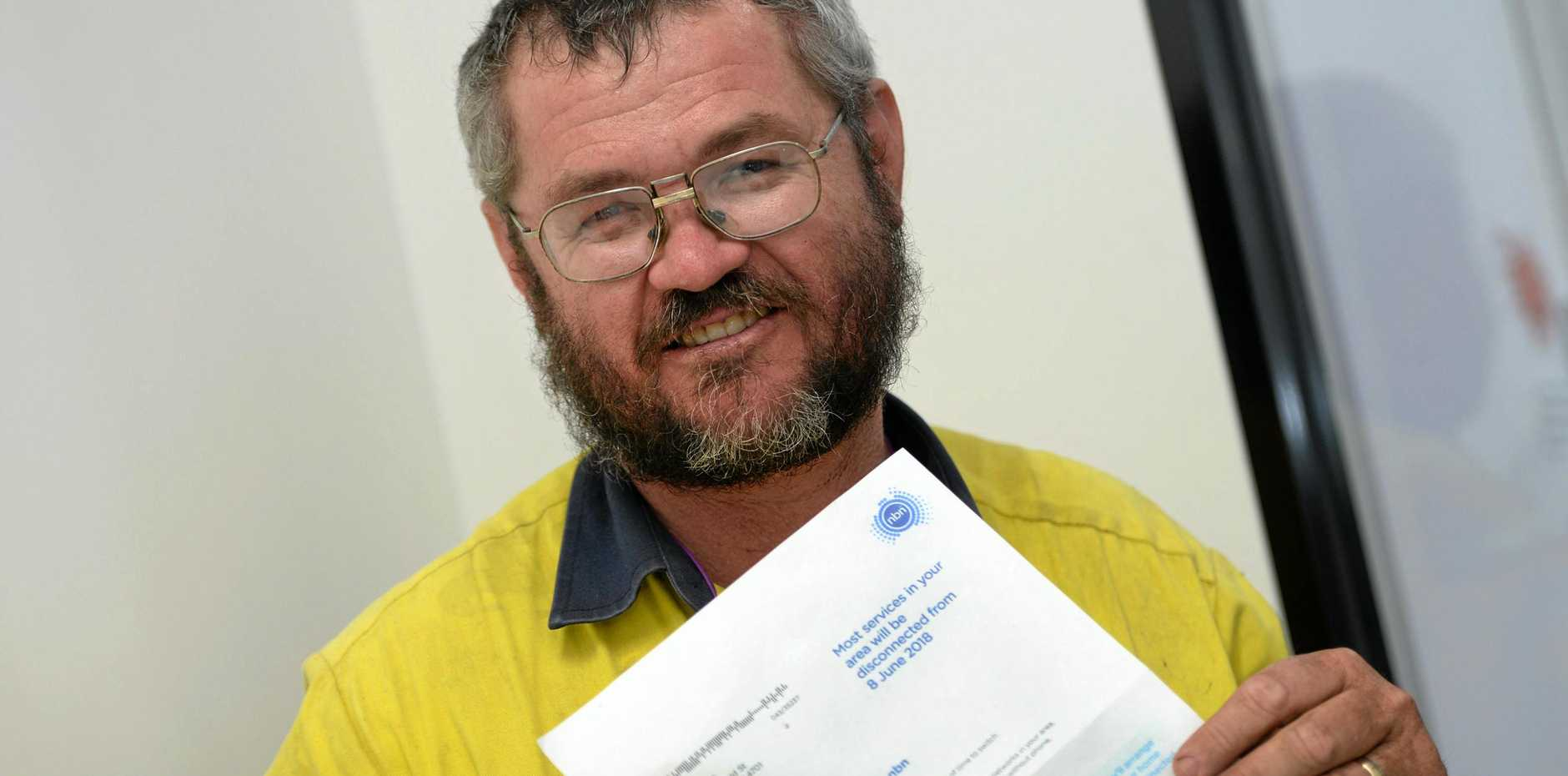 ROOKIE ERROR: Paul Madsen holding a letter from NBN addressed to