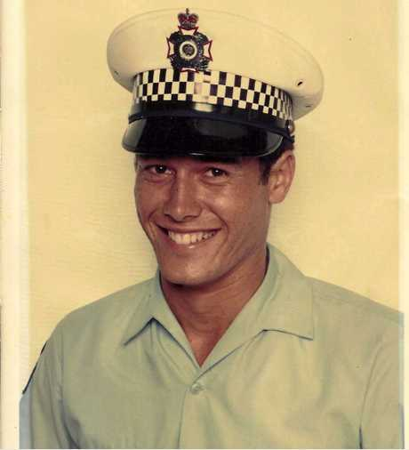 Former Maroochydore Criminal Investigation Brach officer Detective Senior Constable Russell Sheehan celebrates his graduation from the police academy in 1981. Photo Contributed