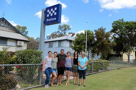 Visiting the Theodore police station are (from left) Lara Sheehan, Kaitlyn Pobar, Russell Sheehan, Amy Williams, Eden Sheehan and Kathy Sheehan. Photo Contributed