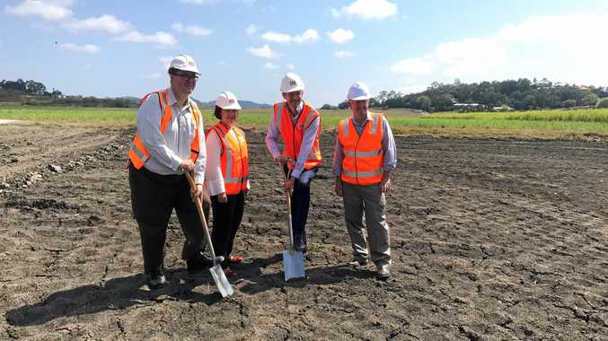 Dawson MP George Christensen, Mackay MP Julieanne Gilbert, Roads Minister Mark Bailey and Mirani MP Jim Pearce turning the first sod for the Mackay Ring Road project.