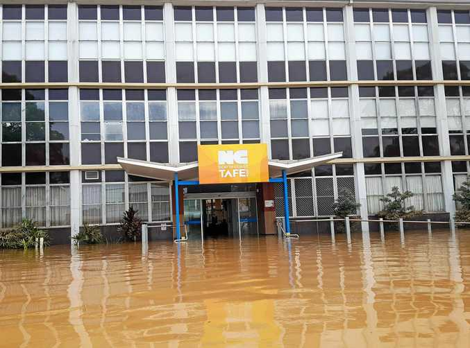 Flood water at the North Coast TAFE in Conway Street.