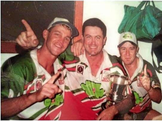 TITLE WINNERS: Andrew Neave (left), coach Dean Pay and Guy Meredith helped guide the Hervey Bay Seagulls to the Bundaberg Rugby League premiership in 2001.