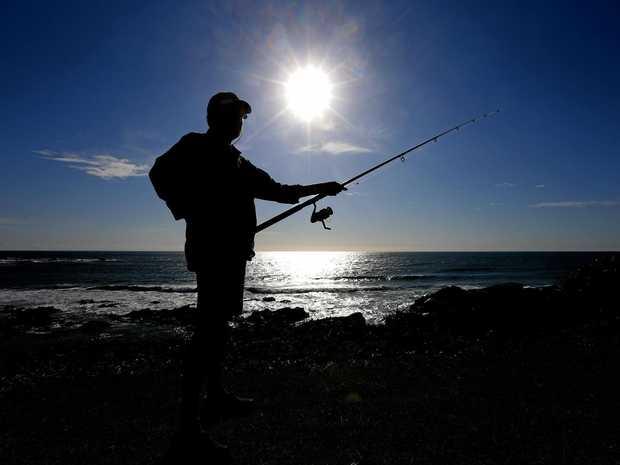 WETTING A LINE: Tweed fisherman Edwin