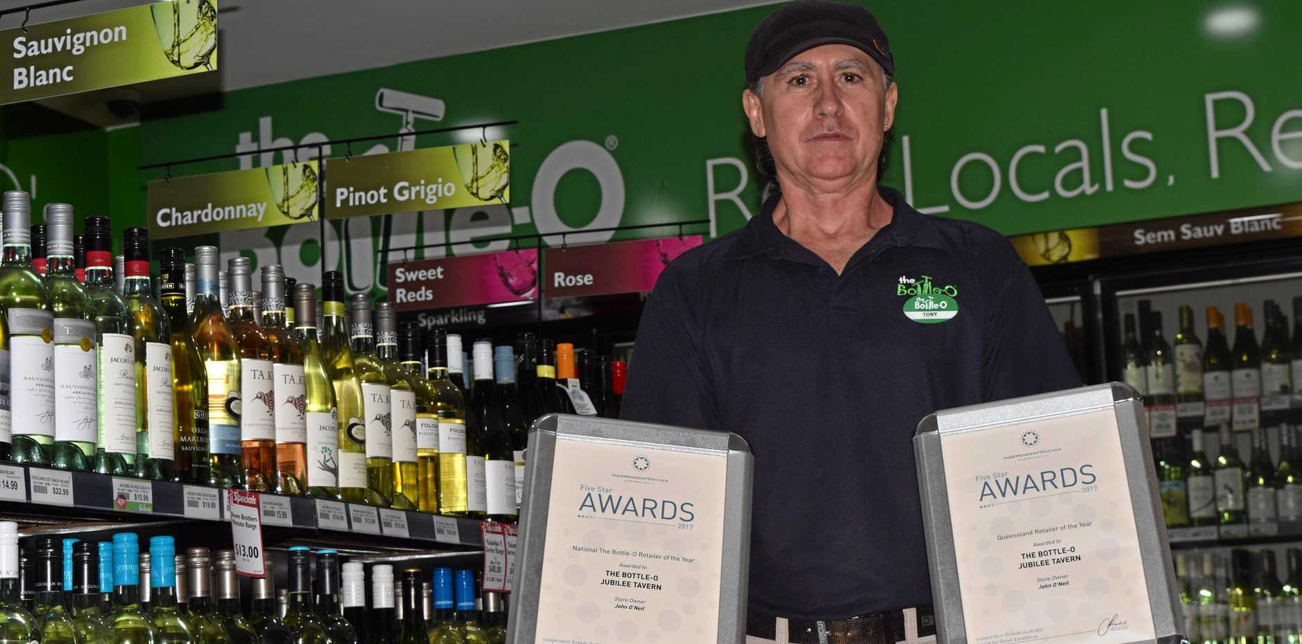 STAR EMPLOYEE: Tony O'Farrell with the Jubilee Tavern Bottle-O's recent awards.