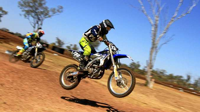 GO: The Clubman lites racing in the Central Highlands Motocross Series in Dysart last weekend.