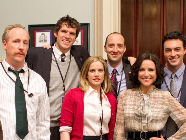 Veep stars (l-r) Matt Walsh, Timothy Simons, Anna Chlumsky, Tony Hale, Julia Louis-Dreyfus and Reid Scott.