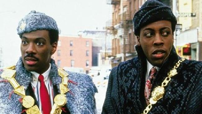 Eddie Murphy and Arsenio Hall in Coming to America.