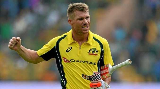 David Warner celebrates his ton at Bangalore.
