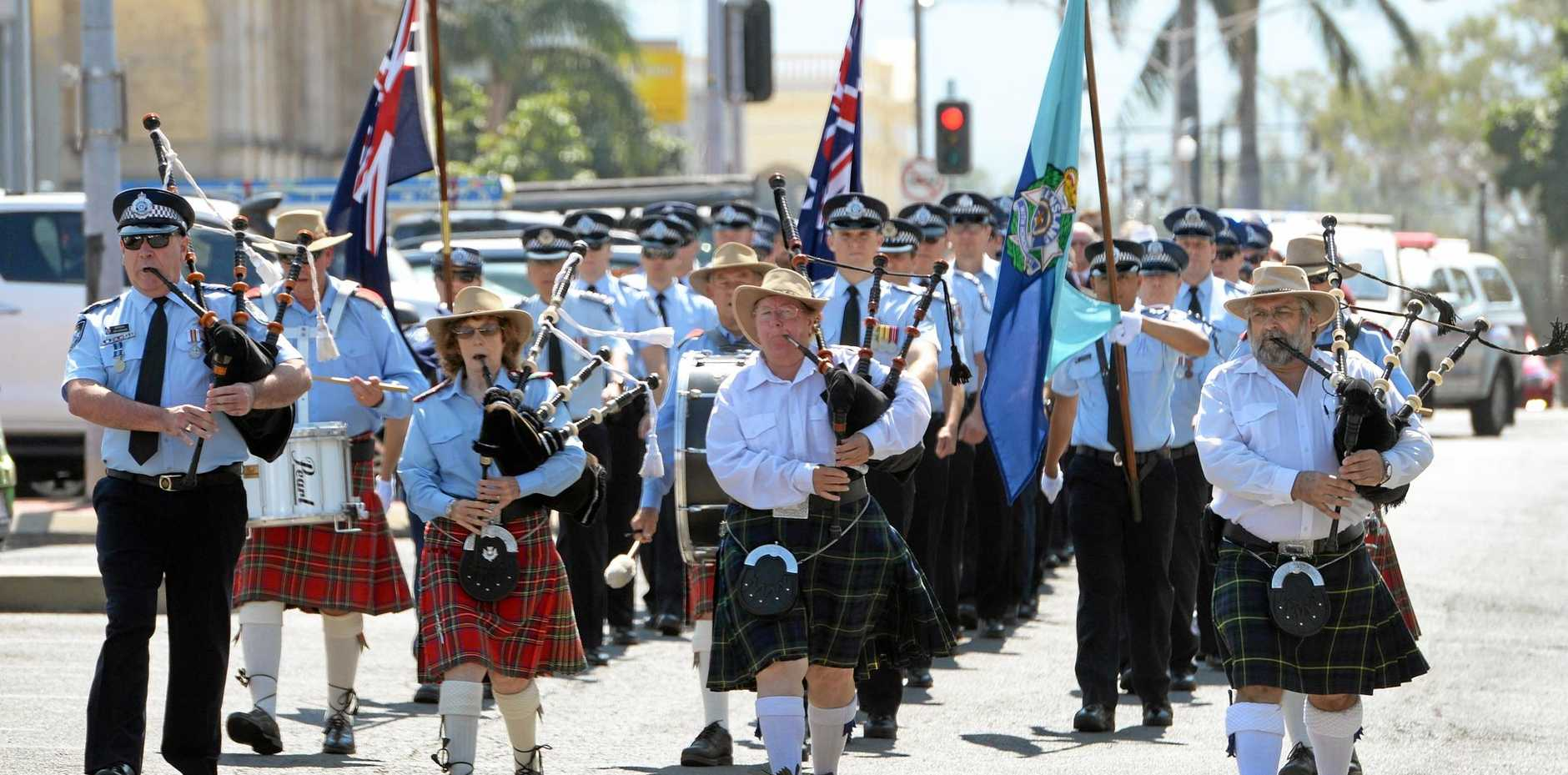 The Queensland Police Remembrance Day march in Rockhampton.