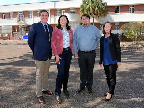 Premier Annastacia Palaszczuk, State Development Minister Dr Antony Lynham and Attorney-General Yvette D'Ath join Labor candidate for Nanango Ben Rankin at the site of the Kingaroy Hospital.