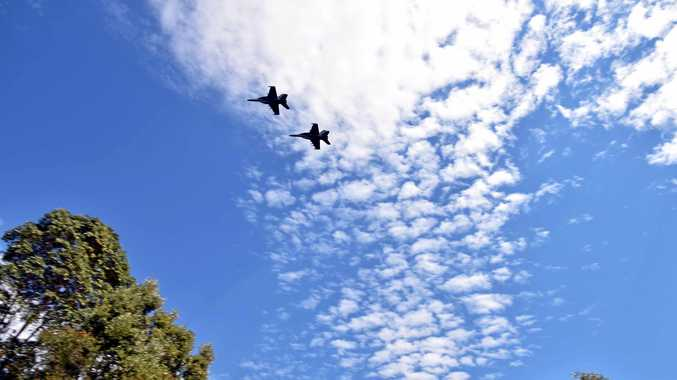Flyover by two EA-18G Growlers from No. 6 Squadron at Royal Australian Air Force Base Amberley.