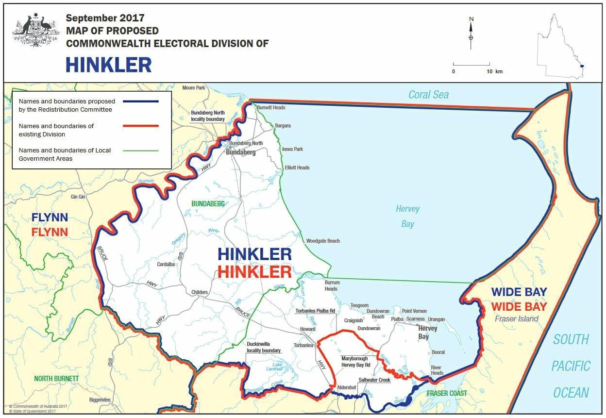 REDRAW: The red line is the current boundary of the seat of Hinkler, and the blue line represents the changed boundary put forward by the redistribution committee.
