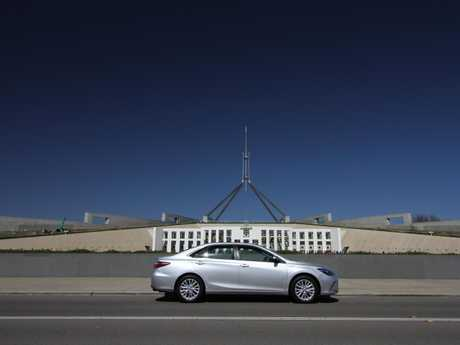 The Toyota Camry Hybrid outside Parliament House.