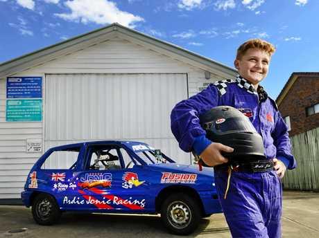 THRILLS: 14-year-old Junior Sedans racer Ardie Jonic of Redbank Plains.