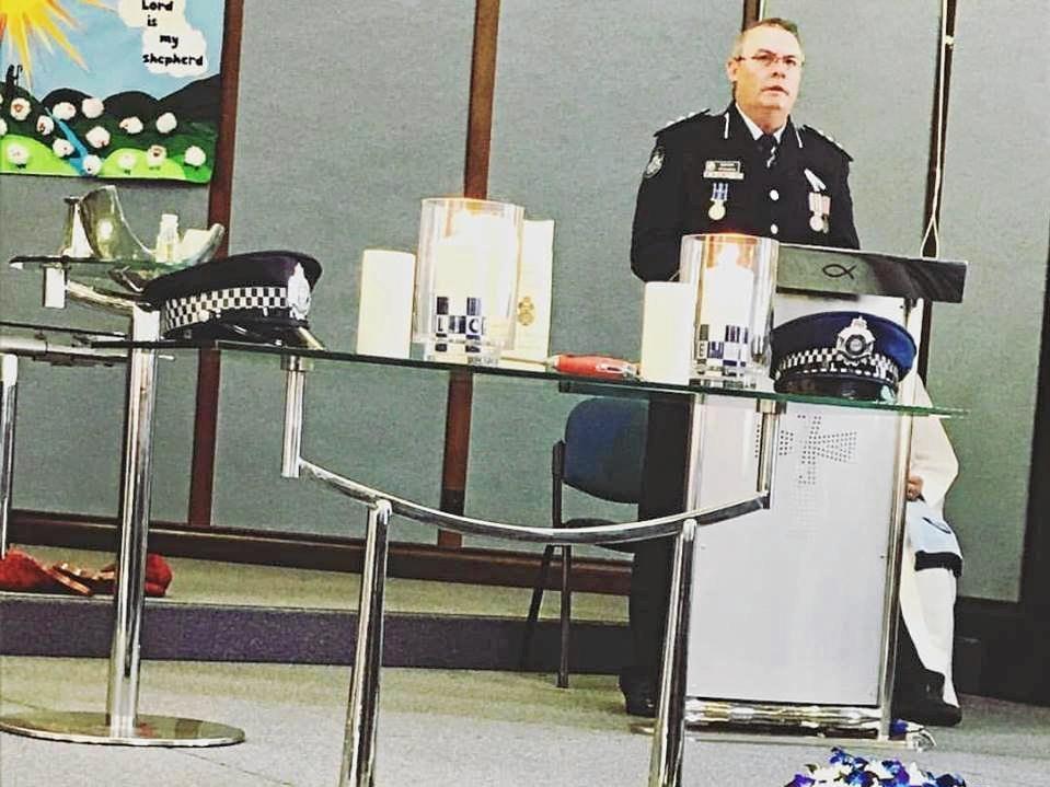 POLICE REMEMBRANCE: Bundaberg Inspector Pat Swindells speaks at yesterday's event. Photo: Stephen Bennett