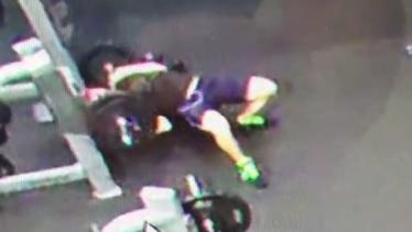 Jason Layt, 28, of Morayfield, was hospitalised after he dropped a heavy barbell on his throat.